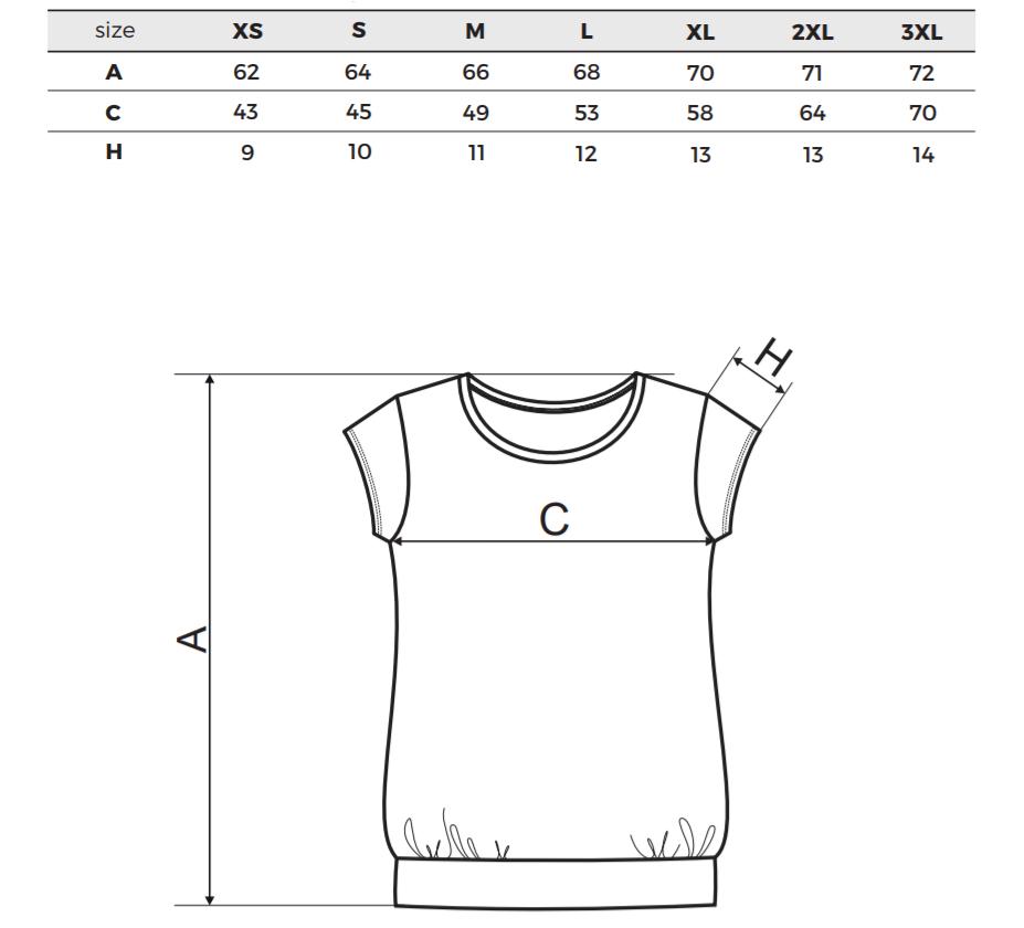 Tabulka Velikostí dámské těhotenské tričko city